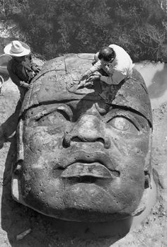 A giant Olmec head discovered in 1946, San Lorenzo, Mexico. Photograph by Richard Hewitt Stewart, National Geographic.
