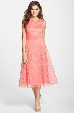 cute coral tea length dress semi formal wedding guest dresses for summer and spring