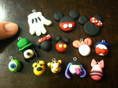 """Disney inspired charms made with my son's polymer clay. Headed to Disney soon and was just playing around yesterday afternoon- I had never even worked with polymer clay before.  I guess """"play-doh"""" is pretty fun and easy! ;) Endless possibilities for earrings, bracelets, necklaces....."""