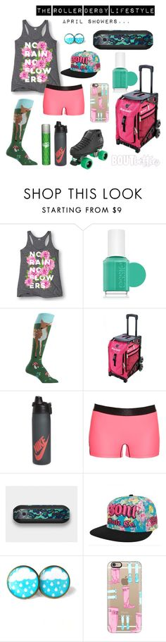"""Roller derby outfit idea   Fri-yay Fashion: """"April showers..."""" by Bout Betties on Polyvore featuring Bont, Zulily, Etsy, Sin City Skates, Design Skinz, Batiste, Riedell, LC Trendz, Bruised Boutique, Snark Factory, Essie, NIKE, Monreal London, Sock It To Me, Nordstrom and Casetify"""