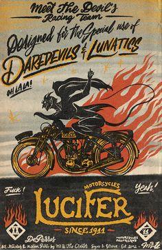 Lucifer Motorcycles propose aux motards de s'équiper avec les produits les plus raffinés du monde de la moto avec sa boutique en-ligne et a Castellón de la Plana (Espagne). Motorcycle Shop, Kustom, Retro, Comic Books, Comics, Classic, Motorcycles, Poster, Artists