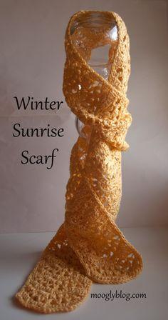 winter sunrise scarf free crochet scarf pattern crochet gift ideas from Moogly Crochet Scarves, Crochet Shawl, Crochet Clothes, Crochet Hooks, Crocheted Scarf, Lace Scarf, Crocheted Scarves Free Patterns, Lace Shawls, Crochet Designs