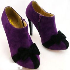 Purple ankle boot with black bow detail