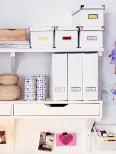 // KASSETT Magazine files, boxes and drawer units like these help keep your work stuff organized and easy to find. Ikea Office, Office Nook, Home Office Decor, At Home Furniture Store, Modern Home Furniture, Recycled Furniture, Wardrobe Organisation, Home Organization, Ikea Kassett