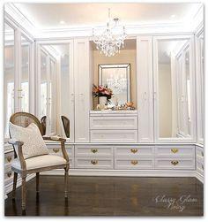 DIY Custom Closet Dressing Room | Crystal chandelier