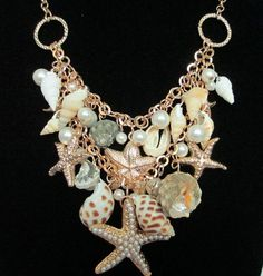 Mermaid Fantasy Beach Sea shell Starfish chandelier necklace Wedding bridal BOHO on Etsy, $29.13
