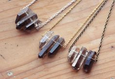 Rough Smoky Quartz Crystal Spike Necklace Point by kissthefuture