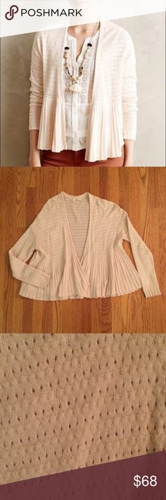 "Pointelle Peplum Cardigan Finished with a kiss of cashmere, Moth's textured sweater counters summer breezes with aplomb. By Moth. Open front. Cotton, viscose, nylon, cashmere. Hand wash. Regular: 22.75""L. Barely worn, perfect condition! Anthropologie Sweaters Cardigans"