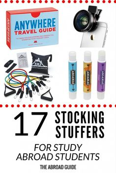 Stocking stuffers for study abroad travelers - need gift ideas for someone who's studying abroad soon? These little gifts are great stocking stuffers and are gifts that they'll use when they're studying abroad.
