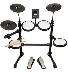 RockJam Mesh Head Kit, Eight Piece Electronic Drum Kit with Mesh Head, Easy Assemble Rack and Drum Module including 30 Kits, USB and Midi connectivity - Music Bass Guitar Lessons, Drum Lessons, Yamaha Electronic Drums, Drum Sets For Sale, Electric Drum Set, Digital Drums, Bass Guitars For Sale, Bass Pedals, Movies