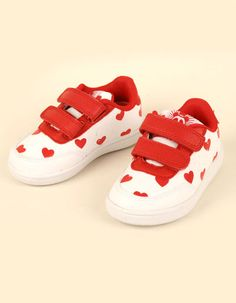 White sneakers with red hearts - Mini Rodini