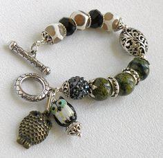 Fancy Agate Handmade Beaded Bracelet Pave by bdzzledbeadedjewelry, $30.00
