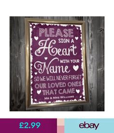 Venue Decorations Personalised Wedding Notice Please Sign Your Name With A Heart Chalkboard Poster #ebay #Home & Garden