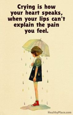 Depression quote - Crying is how your heart speaks, when your lips can