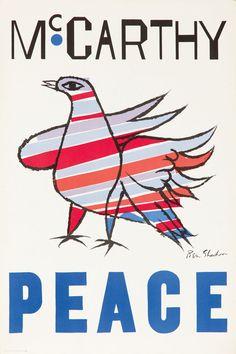 Original Vintage Poster Eugene McCarthy Ben Shahn Political Campaigne Vote 1968 | eBay