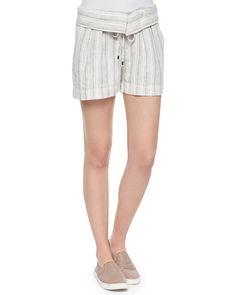 T9VH3 Vince Fold-Over Striped Drawstring Shorts