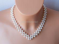 Swarovski pearl bridal collar choker necklace. SKW0067