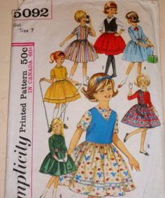 Vintage 60s Simplicity 5092 Sewing Pattern, Girls' One-Piece Dress And Weskit - Seven Day Wardrobe, Size 7. $7.00, via Etsy.