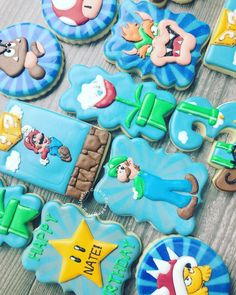 "Tiny Kitchen Cookie Company on Instagram: ""Character cookies are certainly a labor of love! This set definitely brought me back to my childhood! I lived for Mario! Happy Birthday…"" Cookie Company, My Childhood, Mario, Happy Birthday, Bring It On, Cookies, Kitchen, Character, Instagram"