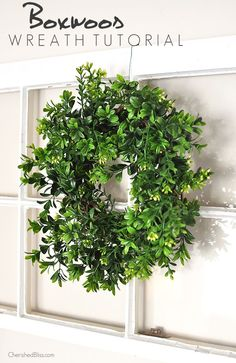 Add a beautiful wreath to your decor that will get you through ever season with this DIY Boxwood Wreath Tutorial via cherishedbliss.com: