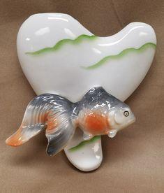 Vintage Fantail Goldfish Fish Wall Pocket Vase Planter Made in Japan Bathroom  #RetroKitsch