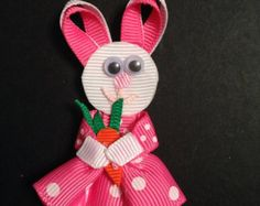 Easter Hair Bow Easter Bunny Shaped Pink Alligator Clip Ready to Ship
