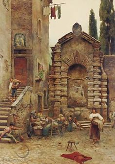Life In A Roman Courtyard - Ettore Roesler Franz
