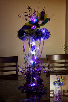 centerpieces ideas high heels   Floral table center piece Castle with LED lights