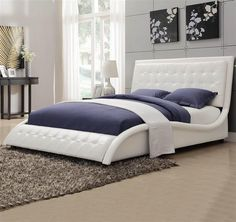 DealBeds.com - Coaster Tully Modern Upholstered Low-Profile Bed in White, $499.99 (https://www.dealbeds.com/coaster-tully-modern-upholstered-low-profile-bed-in-white/)