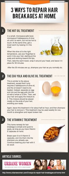 3 Ways To Repair Hair Breakages At-Home [Infographic] u certainly can't really repair breakage, but u can strengthen :-)