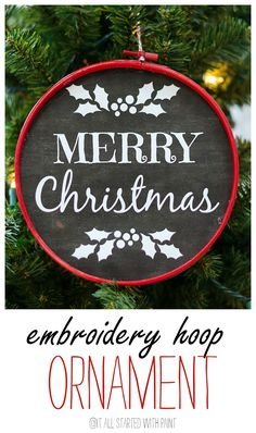 DIy embroidery hoop holiday ornament