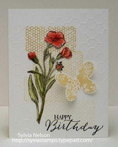 SU! Butterfly Basics stamp set; Butterfly Framelits; Honeycomb embossing folder; colors are Poppy Parade, Calypso Coral, Old Olive and Hello Honey - Sylvia Nelson
