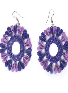 Light and Dark Purple Paper Quilled Earrings