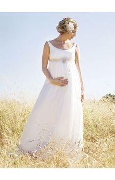 U Ausschnitt Mit Schärpe Bodenlang Chiffon Hochzeitskleider für Schwangere
