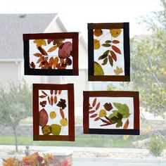 House of Noise... I mean boys.: Kids Craft: Fall leaf stained glass