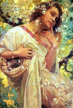 Art Nouveau Mucha, Alphonse Mucha Art, Eslava, Flower Artwork, Painting Flowers, Painting Art, Paintings, Jugendstil Design, Female Art