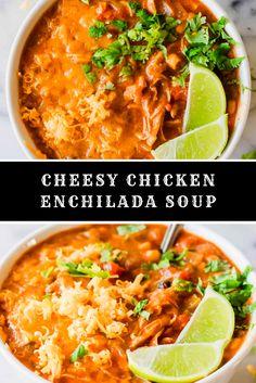 Cheesy Chicken Enchilada Soup Brocolli Soup Recipes, Brothy Soup Recipes, Instapot Soup Recipes, Whole30 Soup Recipes, Campbells Soup Recipes, Cheese Burger Soup Recipes, Cabbage Soup Recipes, Tomato Soup Recipes, Cheesy Chicken Enchiladas