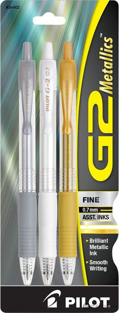 Pilot G2 Metallics Retractable Gel Ink Rolling Ball Pens - Silver & White & Gold - Fine