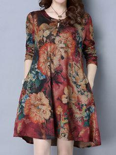 O-Newe Vintage Women Printed O-Neck Long Sleeve Mini Dress