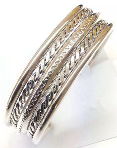 Native American Sterling Silver Navajo Indian Cuff Bracelet 45.5 grams C090524 #NativeAmerican