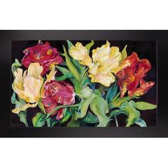 Charlton Home 'Red And Yellow Parrot Tulips' Print Format: Black Wood Large Framed Paper