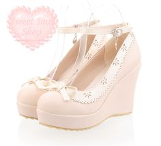 "Pastel Lace Wedges [♥] You can use the code ""pastelcutie"" at checkout for 10% off your order when you spend a minimum of $50.00~ #lolita #shoes #fashion"