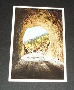 Looking through Tunnel Corley Mountain Highway Colorado Springs Postcard