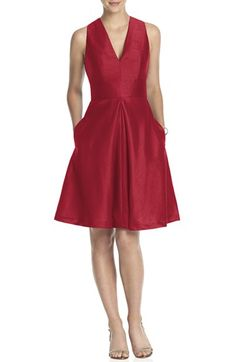 Charlotte / Alfred Sung V-Neck Dupioni Cocktail Dress available at #Nordstrom