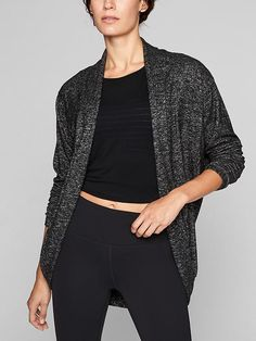 """Size L, Dark charcoal color.  I need a cardigan to take with me to the aerial studio, which gets cold.  I really like this """"Pose"""" series by athleta."""