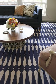 love Maile Roberts-Loring's navy & white rug
