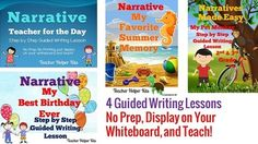 This Narrative Writing Bundle includes 4 of my Guided Writing Lessons. Each lesson goes step by step through the writing process! Just project on your smartboard and teach!Each individual lesson is $4.00, this bundle saves 20%!*This is a zip file- each writing lesson will be in it's own separate pdf file. *****************************************************************************Look at each individual lesson for a preview of what's included!Narrative Writing.Narrative Writing.Narrative…