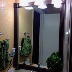 Pinterest inspired bathroom mirror makeover