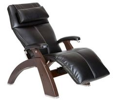 Human Touch Perfect Chair Series 2 Walnut Manual Recline Wood Base Zero Gravity Recliner Black Top Grain Leather Upgraded In Home White Glove Inside