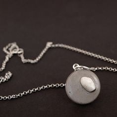 Circle bezel necklace lightweight concrete jewelry sea by shooohs